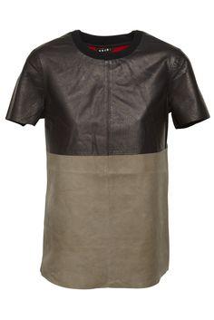 Leather Tee With Zips