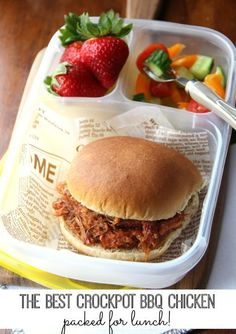 50 healthy work lunch ideas - http://FamilyFreshMeals.com - The Best Crockpot BBQ Chicken - packed for lunch! - http://FamilyFreshMeals.com
