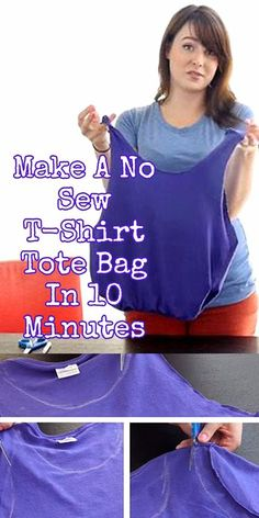 How To Make A No Sew T-Shirt Tote Bag In 10 Minutes tee-bag : make a bag from a recycled t-shirt (love the stripes!) – you could do this with your t-shirts Diy Clothes Bag, Diy Clothes Refashion, Diy Clothes Videos, Diy Purse No Sew, Diy Bags No Sew, Sacs Tote Bags, Diy Tote Bag, Tee Shirt Crafts, T Shirt Diy
