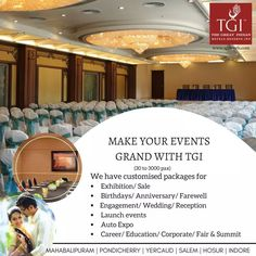 We provide a luxurious ambiance and state of the art and banquet facilities across all our hotels at Mahabalipuram, Pondicherry, Yercaud, Salem, Hosur and Indore. No matter what the event is - corporate, media or social events we guarantee it will be memorable with the top of the line amenities like internet connectivity, air conditioning, audio/visual equipment, a wonderful sound system, and a cozy seating arrangement. For more details visit our website www.tgihotels.com #ExperienceTGI