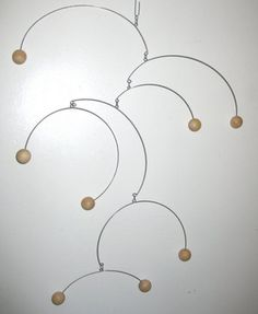 Kinetic Sculpture Mobile, Natural Wood Spheres by The Purple Crane ...