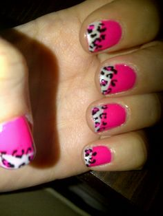 cheetah nails... I think it'd look better if the white underneath was a whisper instead of a shout.
