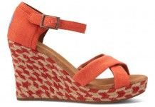 Coral Mixed Rope Strappy Wedges TOMS Music Festival Shop | TOMS.com