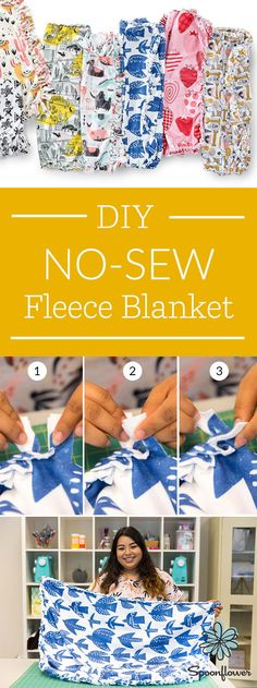 Craft the Perfect Gift: DIY No-Sew Fleece Blanket - Ready for a DIY project but you're not into sewing? No problem! With Spoonflower's Fleece, you can make a cozy blanket with just a couple simple tools. We'll show you how to make a braided-edged blanket here, and you can get the tutorial for a knot-edge look in this tutorial. With a project this easy, you can make a lap blanket for a sick friend or whip up a blanket for a kid's reading nook in no time! #spoonflower #gift #handmade #nosew…