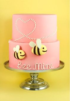 Beautiful Cake Pictures: Be Mine Pink Wedding Cake Picture - Pink Cakes, Wedding Cakes - Pretty Cakes, Beautiful Cakes, Amazing Cakes, Bee Cakes, Fondant Cakes, Cupcakes Decorados, Valentines Day Cakes, Engagement Cakes, Cake Pictures