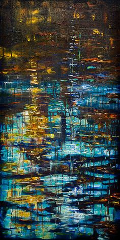 Reflections IV, abstract painting by L. Olsen. So vibrant, feel as I'm standing in the rain. Love this.