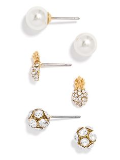 8f69de6da27 Pearls, crystal balls and cheeky pineapples - this earring threesome will  carry you from work