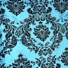 Turquoise / Black Damask Flocked Taffeta Fabric 58 inches width sold by the yard #NewstarFabric