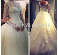 Vestido De noiva 2015 vestidos De casamento tubo superior luxuoso manga comprida Lace Vestido De noiva 2015 Vestido De casamento Robe De Mariage