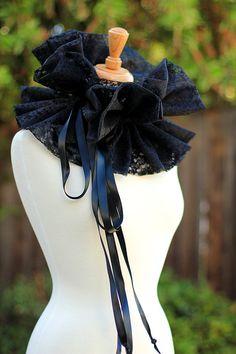 Collare vittoriano in pizzo nero moda di mademoisellemermaid