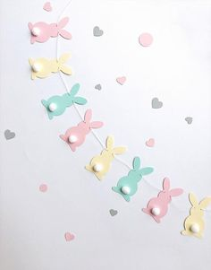 Pastel Bunny Easter Garland Rabbit Garland Bunny Baby Shower Birthday Pink Yellow Aqua Bunny Banner Easter Decorations Spring Home Decor, Diy Abschnitt, Easter Garland, Easter Bunny Decorations, Birthday Garland, Easter Banner, Bunny Party, Easter Party, Easter Crafts, Crafts For Kids, Bunny Crafts