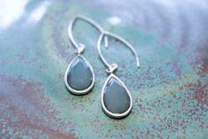 Faceted Aqua Glass Drop Earrings  Teardrop translucent by adairya2, $12.00