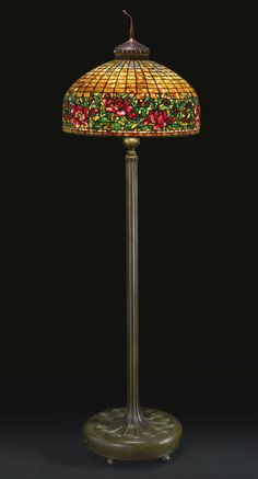 Tiffany Studios, New York, Favrile Leaded Glass and Patinated Bronze Floor Lamp. Tiffany Stained Glass, Lamp, Chandelier Lamp, Art Nouveau Lamps, Tiffany Style Lamp, Floor Lamp, Tiffany Lamps, Glass Design, Vintage Lamps