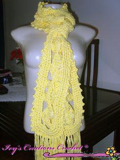 Crochê Tricô: Cachecol em Crochê de Grampo e Crochê Tradicional
