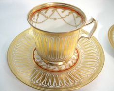 """Items similar to Royal Chelsea """" Cathedral """" tea cup and saucer, Hand Decorated teacup, Gold, White and Red tea cup. on Etsy Tea Cup Set, Cup And Saucer Set, Tea Cup Saucer, Tea Sets, English Tea Cups, Vintage Cups, Vintage Stuff, China Tea Cups, Chocolate Cups"""