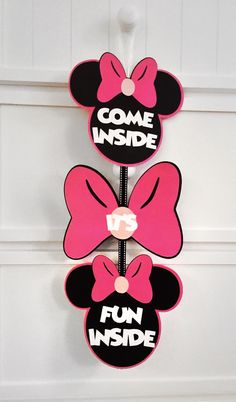 Minnie Mouse Clubhouse Sign - Minnie Mouse Door Sign - Minnie Mouse Party - Minnie Mouse Decorations - Pink Minnie Mouse