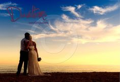 Bride and groom on Spanish beach for the perfect wedding landscape!