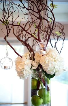 alternative, apples, branches, candles, centerpieces, dutch hydrangeas