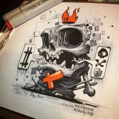 """1,044 Likes, 27 Comments - NITRO, Copic Jedi (@nitrouzzz) on Instagram: """"And finally No.12 for #skullyjuly is done! Its a fan-art to one of my favorite artists and big-big…"""""""
