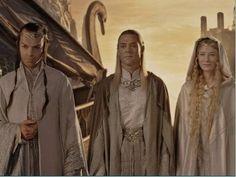 Elrond, Celeborn, and Galadriel starting their journey to Valinor.