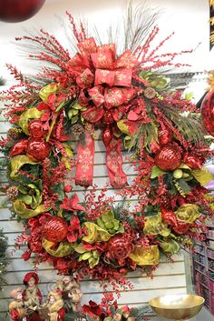 Holiday Wreath - Red/Gold - GandGwebStore.com