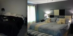 Before and after bedroom pic. Homemade headboard and homemade end of bed bench. Comforter from closeout linens Homemade Headboards, End Of Bed Bench, Gray Bedroom, Future House, Linens, Cribs, Comforters, Bedroom Ideas, Decorations