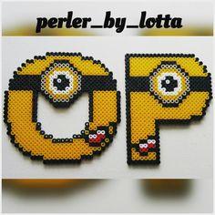O - P Minion alphabet hama beads by perler_by_lotta
