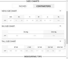 38 Size Charts And Measurement Guides Ideas Size Chart Size Ralph Lauren Mens Shirts