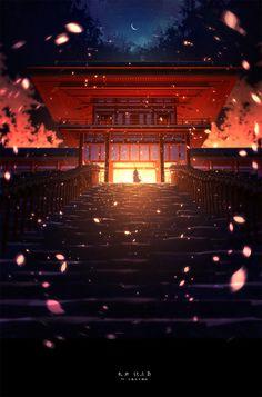 Alone with your memories Wonderful whimsical fantasy landscape art Art Anime, Manga Art, Fantasy Landscape, Landscape Art, High Fantasy, Fantasy Art, Anime Body, Touken Ranbu, Noragami