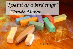 I Paint as a Bird Sings - Claude Monet (and a list of all our bird chalk pastel tutorials)