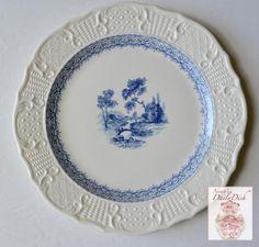 Vintage China Light Blue Transferware Creamware Plate Embossed Border Romantic Stroll Over Bridge