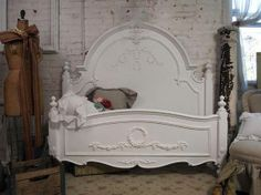 Painted Cottage Chic Shabby White Queen Romance Bed BD205 | eBay