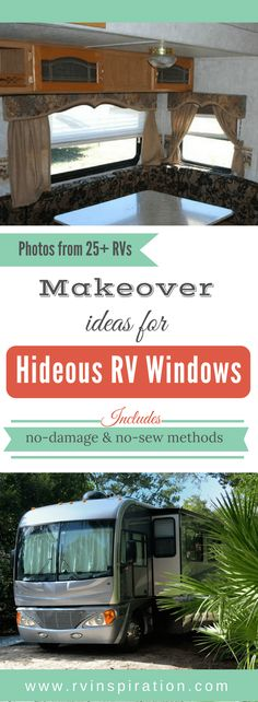 Not loving the blinds or shades in your RV? 20+ ideas for curtains, cornices, valances, etc. for campers, motorhomes, travel trailers and all kinds of RVs.