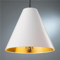 Oversized Cone Paper Shade Pendant Available in 9 Colors: Dove Gray/Gold/Aged…