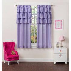 Mainstays Kids Ruffle Curtains, Set of two, Purple