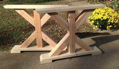 Farmhouse Trestle Table Legs X-Frame Table Legs Wood Table