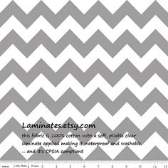 9 x 41 LAMINATED fabric remnant - Gray chevron (aka coated vinyl fabric polyurethane cotton PUL oilcloth slicker)
