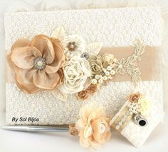 Lace Wedding Guestbook and Pen Set LARGE in Champagne, Nude and Ivory with Lace and Pearls