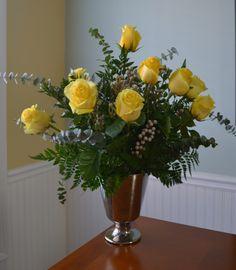 Yellow rose flower arrangement