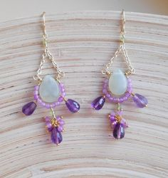 Rosalinda purple green gemstone chandelier cluster dangle earrings -Rosalinda gemstone chandelier earrings, featuring light green jade briolettes, amethyst faceted briolettes, pink jade faceted rondelles, peridot faceted rondelles, gold filled wire, 14 K gold filled findings and 14 K gold vermeil findings. Total height (including earwires): 8,50 cm (3.35 inches) Light green jade smooth briolettes measure approximately : 12x