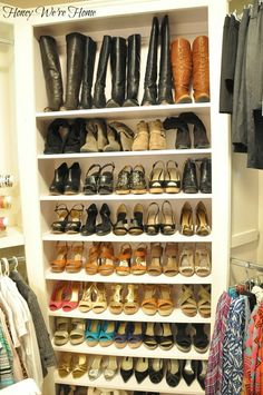 Master closet- Oh, wow! This is an amazing way to organize shoes in your closet - love it! Master Closet, Closet Bedroom, Closet Space, Shoe Organizer, Organizers, Closet Shoe Storage, Shoe Closet, Laundry Room Organization, Organizing Shoes
