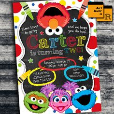 Elmo Invitation Elmo Birthday Invitation Art Party by ArtAmoris