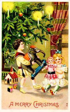 Vintage Christmas Card ~ Happy Kids 'Round the Tree ~ A tad of Orange
