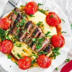 Creamy Polenta With Grilled Steak And Roasted Tomatoes | 16 Christmas Dinner Ideas Guaranteed To Make Your Night Memorable