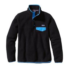 Patagonia Women's Lightweight Synchilla Snap-T Fleece Pullover 25455 Black with Skipper Blue