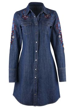 Long Sleeve, Western Snap Dress Dark Washed Denim with Embroidery Southwestern Embroidery All Over Five-Snap Cuffs Classic Western Pockets Front and Back Western Yokes Denim Tunic, Denim Shirt Dress, Denim Top, Blouse Dress, Denim Outfit, Western Dresses, Country Dresses, Embroidered Denim Dress, Denim Fashion
