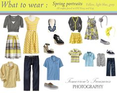 What to wear for your outdoor spring portrait sessions.  I love this combo of yellow, light blue and gray!  This would be beautiful for Easter pictures!