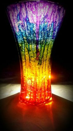 Alcohol Ink Vase, Glass Painting, Solar lights. Chantelle Monique Art. Chantellified.