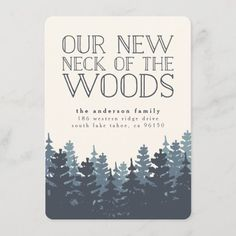 Winter Forest Moving Announcement Housewarming Party Invitations, 1st Birthday Party Invitations, Christmas Invitations, Moving Announcements, Invitation Wording, Invitation Ideas, Invites, Elephant Gifts, House Warming
