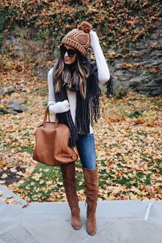 winter is all about accessories. cute pom pom beanie and scarf